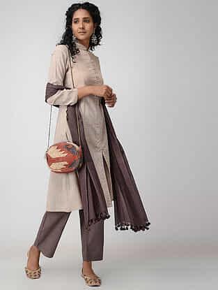 Beige Front-open Cotton Slub Kurta with Pockets