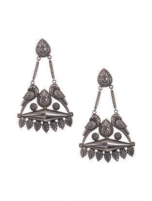 Tribal Silver Earrings with Bird Motif