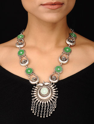 Green Glass Tribal Silver Necklace
