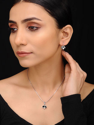 Black Silver Pendant with Chain and Earrings (Set of 3)
