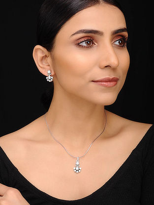 Classic Silver Pendant with Chain and Earrings (Set of 3)