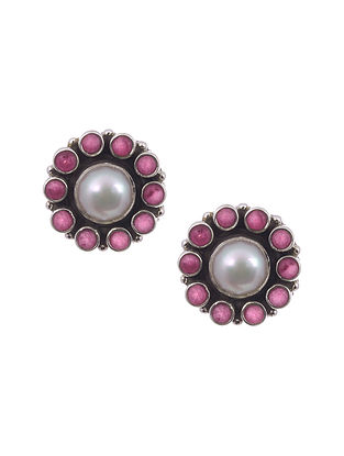 Pink Silver Earrings with Pearls
