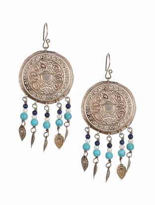 Vintage Afghan Silver Earrings with Turquoise, Lapis Lazuli and Moonstone