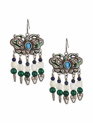 Vintage Aghan Silver Earrings with Lapis Lazuli, Moonstone and Green Onyx