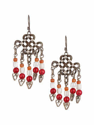 Vintage Aghan Silver Earrings with Coral, Moonstone and Red Onyx
