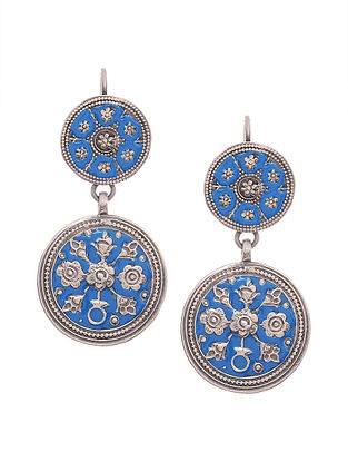Blue Enameled Silver Earrings with Floral Motif