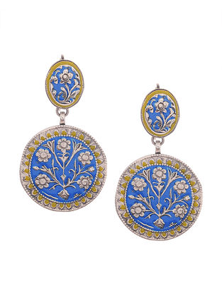 Blue-Yellow Enameled Silver Earrings with Floral Motif