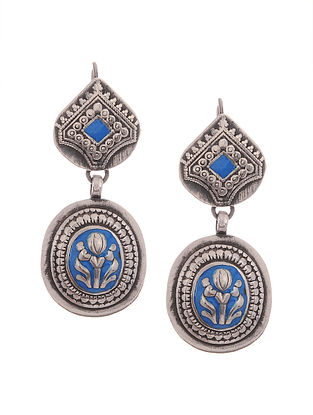 Blue Enameled Silver Earrings
