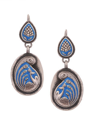 Blue Enameled Silver Earrings with Peacock Motif