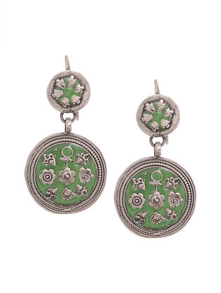 Green Enameled Silver Earrings with Floral Motif