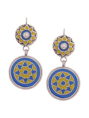 Blue-Yellow Enameled Silver Earrings