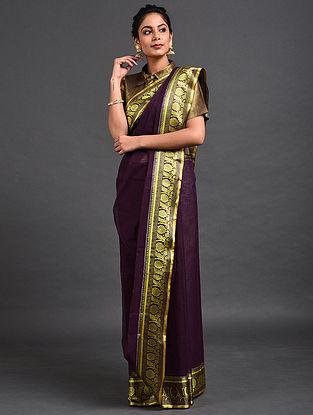 Purple Cotton Saree with Zari