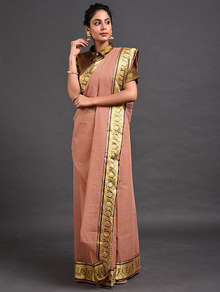 Peach Cotton Saree with Zari