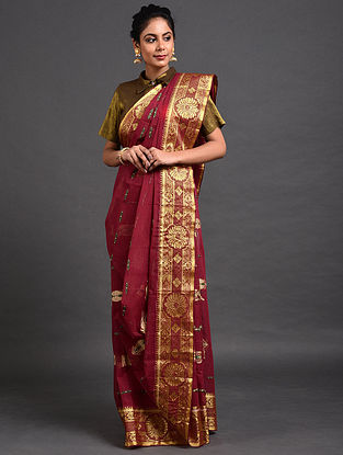 Maroon Cotton Saree with Zari