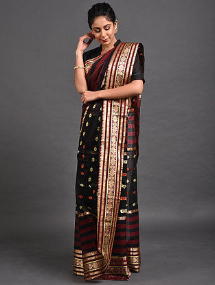 Black-Maroon Cotton Saree with Zari