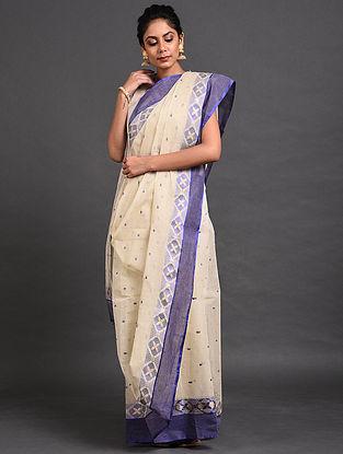 Ivory-Blue Cotton Saree with Zari