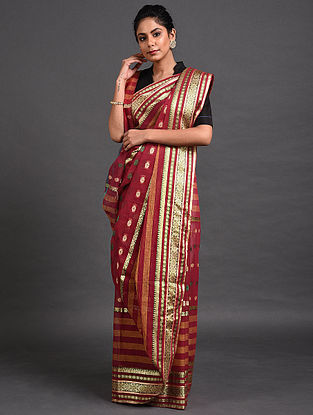Red Cotton Saree with Zari