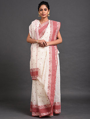 White-Pink Cotton Saree