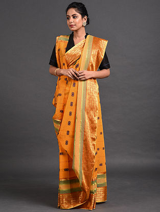 Mustard Cotton Saree with Zari
