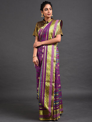 Purple-Green Cotton Saree with Zari