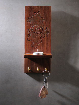 Brown Handcrafted Wood T light Stand with Terracotta Diya (L:10in, W:4in)