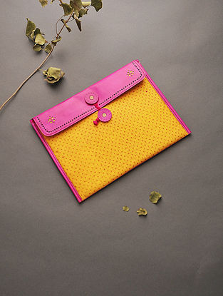 Pink-Mustard Handcrafted Mashru and Leather Ipad Sleeve