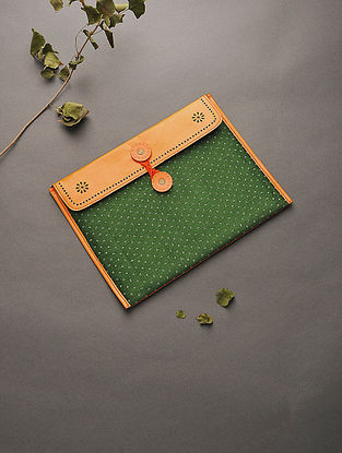 Orange-Green Handcrafted Mashru and Leather Ipad Sleeve