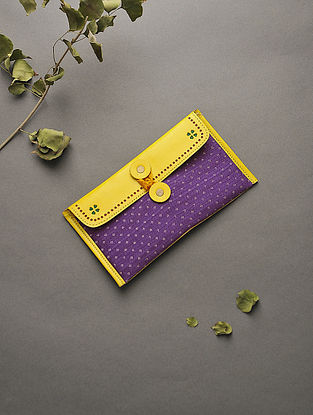 Yellow-Purple Handcrafted Mashru and Leather Batuwa