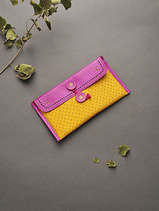 Pink-Yellow Handcrafted Mashru and Leather Batuwa