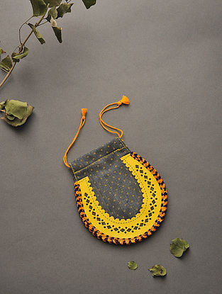 Yellow-Black Handcrafted Mashru and Leather Batuwa