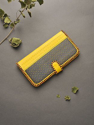 Yellow-Grey Handcrafted Mashru and Leather Clutch