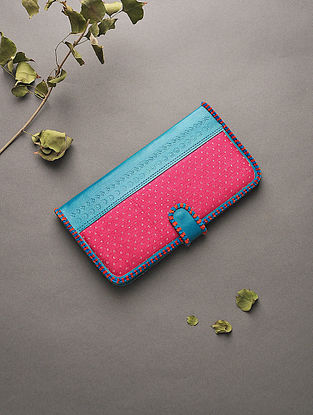 Blue Handcrafted Mashru and Leather Clutch