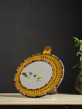 Aaina Chaand Yellow-Multicolored Handmade Leather Mirror