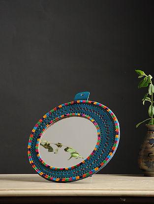 Aaina Chaand Blue-Multicolored Handmade Leather Mirror