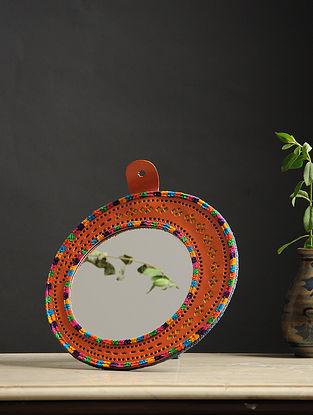 Aaina Chaand Orange-Multicolored Handmade Leather Mirror