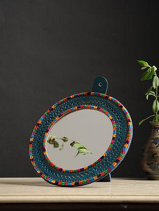 Aaina Gol Blue-Multicolored Handmade Leather Mirror