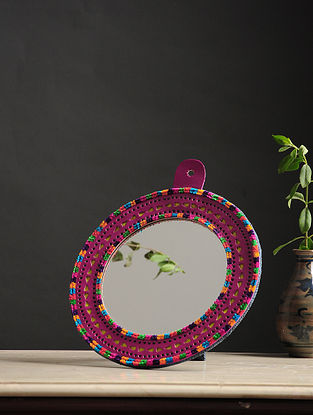 Aaina Gol Pink-Multicolored Handmade Leather Mirror