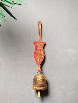 Orange-Golden Handcrafted Leather and Copper Bell by Meghwal of Kutch (14.5inx 2.3in)