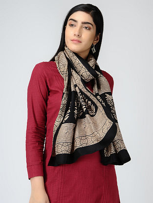 Ivory-Black Bagh-printed Mulberry Silk Stole