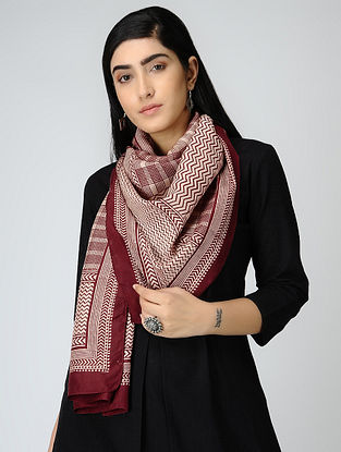 Ivory-Red Bagh-printed Mulberry Silk Stole