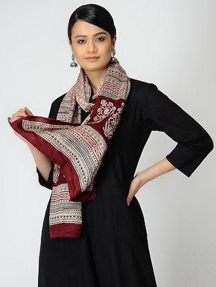 Ivory-Red Bagh-printed Gajji Silk Stole