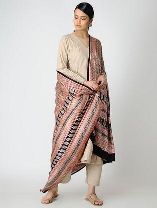 Beige-Red Bagh-printed Gajji Silk Dupatta