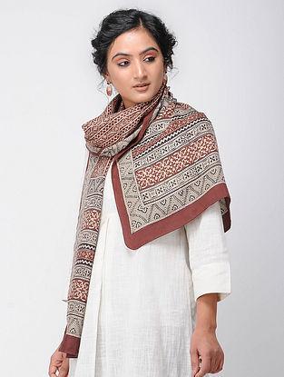 Beige-Madder Bagh-printed Silk Stole