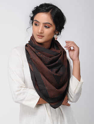 Madder-Black Bagh-printed Silk Stole