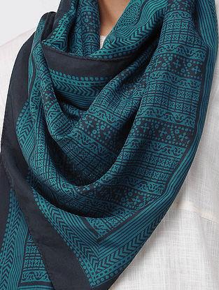 Blue-Black Bagh-printed Silk Stole