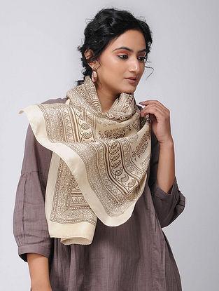 Beige Bagh-printed Silk Stole