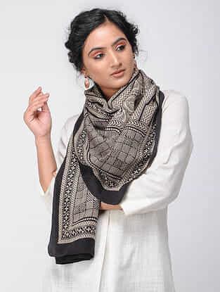 Ivory-Black Bagh-printed Silk Stole