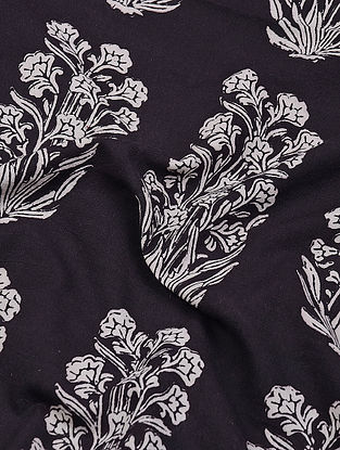 Black-Ivory Natural-Dyed Bagh-printed Cotton Fabric