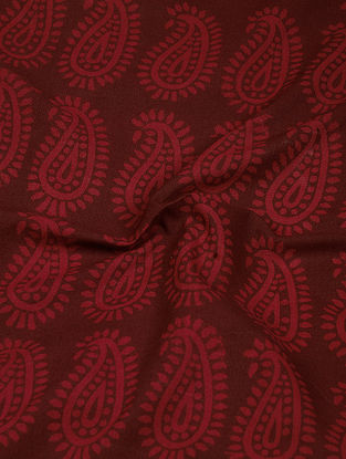 Madder-Pink Natural-Dyed Bagh-printed Cotton Fabric