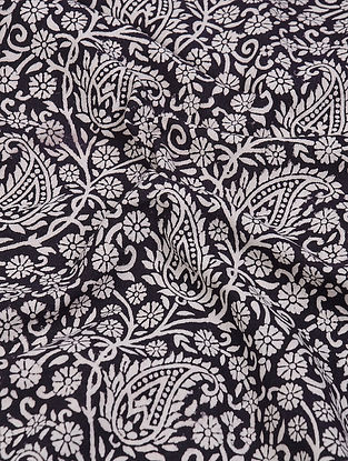 Black-White Natural-Dyed Bagh-printed Cotton Fabric